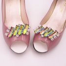 Vintage Style Color Stone Wedding Bridal Party Shoe Clips Pair