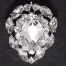 Vintage Teardrop Rhinestone Crystal Silver Tone Wedding Bridal Cake Brooch Pin