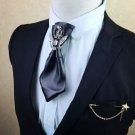 Black Rhinestone Crystal Wedding Men Pre Tied Bow Tie Faux Leather Neck Tie