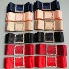 Black/Navy Blue/Pink/Red Bow Rhinestone Crystal Wedding Bridal Shoe Clips Pair