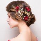 Red Rose Flower Bridal Crystal Hair Clip Rhinestone Wedding Hair Jewelry