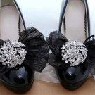 2 pcs - Fashion Rhinestone Crystal Organza Bow Flower Summer Wedding Shoe Clips