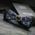 Men's Valentine Party Black & Blue Skull Crossbones Pre-Tied Necktie Bowtie
