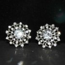 Lot of 6 Vintage Style Rhinestone Crystal Bridal Round Flower Coat Shank Button