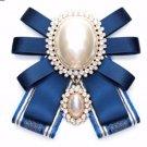 Red Or Blue Vintage Pearl Ladies Pre Tied Ribbon Bow Brooch Pin Or Tie String