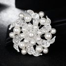 3 Pieces Wedding Bridal Rhinestone Crystal Faux Pearl Silver Flower Brooch Pin