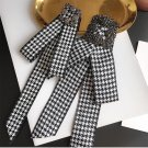 Crystal Fashion Ladies Men Pre Tied Black White Bow Brooch Pin