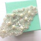 Faux Ivory Pearl Crystal Diamante Rhinestone Wedding Sew Iron On Applique