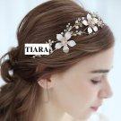 Wedding Flower Crystal Gold Tiara Bridal Headpiece Hair Accessories
