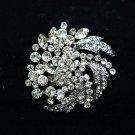 Rhinestone Crystal Leaf Flower Wedding Brooch Pin Jewelry Accessories