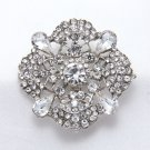 Square Rhombus Vintage Style Rhinestone Crystal Wedding Cake Brooch Pin