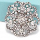 Bridal Dress Clear Rhinestone Crystal Heart Flower Brooch Pin Wedding Jewelry