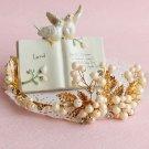 Ivory Pearl Gold Leaves Leaf Vintage Style Wedding Tiara Hair Jewelry