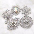 Random Mixed Of 3 Pieces Aurora Crystal Rhinestone Cake Brooch Pin