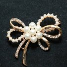 Gold Wedding Bridal Ivory Pearl Crystal Rhinestone Bow Brooch Pin