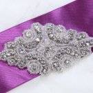 Vintage Style ron Sew Rhinestone Crystal Beaded Bridal Gown Sash Applique 3.5""
