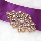 "3.5"" Faux Pearl Rose Gold Beaded Rhinestone Crystal Wedding Iron Sew Applique"