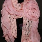 Winter Fashion Ladies Women Big Rose Chiffon Pink Acrylic Scarf