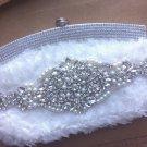 Handmade Wedding White Bag Shoulder Bag Purse Rhinestone Crystal Clutch