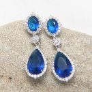 Wedding Bridal Blue Teardrop Cubic Zirconia Platinum Plated Dangle Stud Earrings