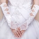 Flower Lace Sequin Pearl Bow Style Ivory Wedding Elbow Gloves