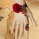 Rose Rose Black Lace Gothic Goth Slave Ring Copper Bracelet Jewelry