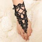 Gothic Goth Evening Party Black Lace Flower Wedding Slave Slave Bracelet