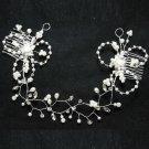 Bridal Rhinestone Crystal Pearl Rose Flower Wedding Crown Tiara Headband Comb