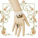Wedding Eye Mask Charm White Lace Pink Rose Copper Slave Bridal Bracelet