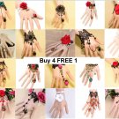 5Pcs Random Assorted Flower Rose Gothic Goth Black Lace Slave Bracelet With Ring
