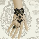 Gothic Goth Evening Black Lace Teardrop Charm Droplets Slave Bracelet With Ring