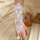 Gothic Lace Wedding Bridal Faux Pearl White Rococo Flower Bracelet Slave Ring