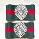 2 Pcs Red Green Ribbon Gold Crystal Shoe Clips Accessories Shoes Decoration
