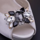 Wedding Bridal Black Rhinestone Crystal Vintage Style Shoe Clips Pair