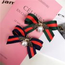 2 Pcs Red Green Ribbon Gold Pearl Bee Shoe Clips Accessories Shoes Decoration