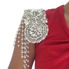 Wedding Party Rhinestone Crystal Shoulder Pad Belt Applique With Pearl Chains