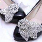 A Pair of Rhinestone Crystal Bow Leaf Round Wedding Shoe Clips