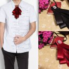 Wedding Party Red Black Pre Tired Polyester Ribbon Mens Groom Bowtie Necktie