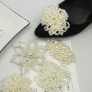 Women Fashion Ivory Pearl Cluster Wedding Shoe Clips Decoration Charms Pair