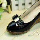 A Pair of Color Bow Plastic PU Synthetic Leather Fashion Ladies Shoe Clips