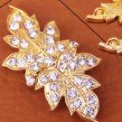 Vintage Style Rhinestone Crystal Wedding Bridal Gold Leaf Hook and Eye Clasp