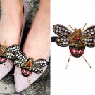 2 Pcs Red Gold Beaded Bee Applique Accessories Shoes Decoration Shoe Clips