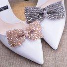 2 Pcs x  Beaded Crystals Beads Ribbon Bow Wedding Black Blue Khaki Shoe Clips