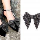2 Pcs Black Beads Rhinestone Crystals Wedding Large Bow Shoe Clips