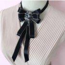 Rhinestone Crystal Black Dangle Wedding Ladies Men Pre Tied Bow Tie Neck Tie