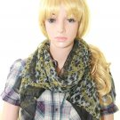 Woman Fashion Silk Flower Leopard Yellow Pink Pattern Soft Neck Scarf