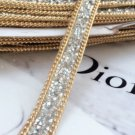 2 Meter Color Beaded Crystal Wedding Sash Gold Chain Trim Iron Sew Applique