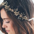 Gold Silver Gold Pearl Leaf Rhinestone Crystal Wedding Headpiece Bridal Tiara