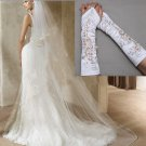 2 Tiers Wedding White/Off White Cathedral Net Organza Veil With Lace Gloves Set