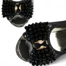 A Pair Beads Beaded Black Bow Wedding Bridal Shoe Clips